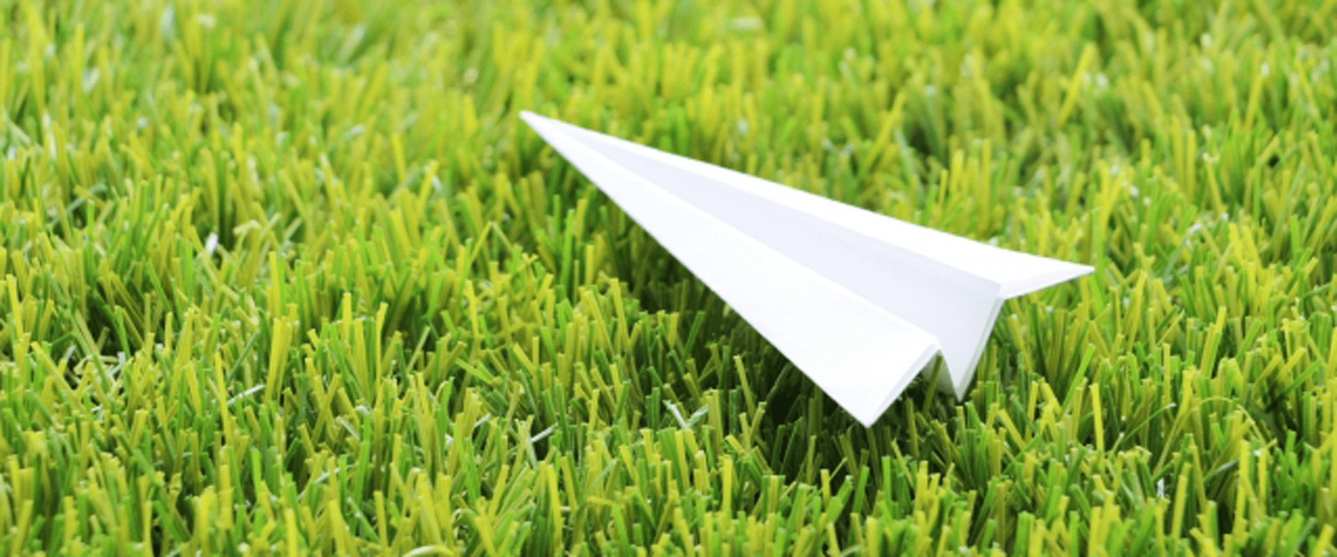 芝生に紙飛行機を置いている
